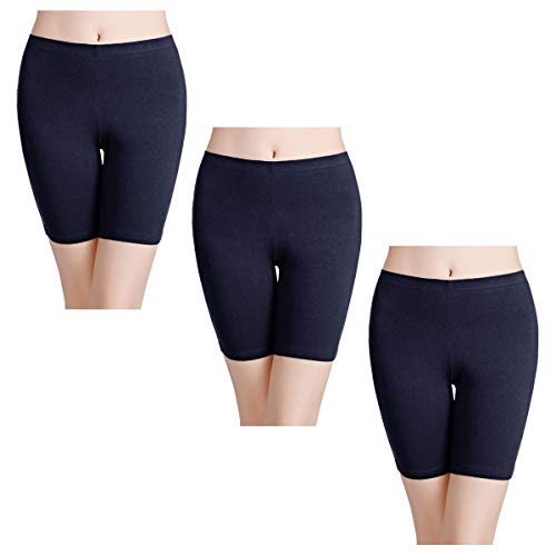 wirarpa Unterhosen Radlerhose Boxershorts Damen 3er Pack Hoher Bund Baumwolle Shorts Panties Lange Unterwäsche Navy Blau Größe 48 50 52 (Dama Shorts De)