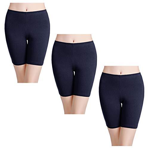 wirarpa Bragas Algodon Mujer Boxer Short Leggings Cortos 3 Pack Pantalon Azul Marino 38