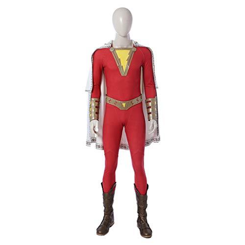 nihiug Cosplay Kostüm Zauberkapitän Shazam Shazan Umhang Overall Ganzanzug Halloween,Red-S (Shazam Schwarzen Kostüm)