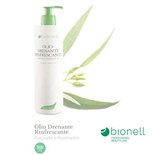 Olio da massaggio corpo drenante rinfrescante 500 ml bionell eucalipto e rosmarino professionale estetica