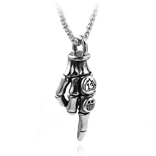 SUNMM Titan Stahl Halskette Für Mann Schädel Kreuz Anhänger Halskette Männlich Punk-Stil Halskette Halloween Schmuck-In Halsketten, Mittelfinger
