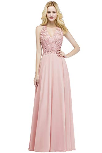 MisShow Ballkleid Abendkleid Lang Ärmellos Perlenstickerei Applique Chiffon Abschlusskleid, Rosa 2, 36