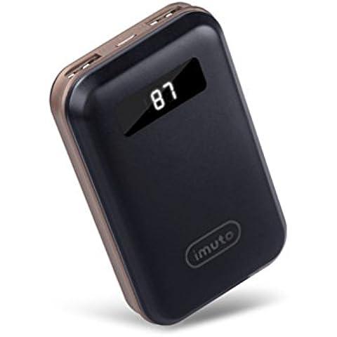 iMuto 10000mAh Cargador Externo Portátil Batería Power Bank con Pantalla de LED, Carga rápida para iPhone 7 Plus, iPad, Samsung, Móviles Inteligentes y Tabletas (Negro)