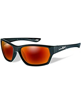 Wiley X WX Moxy gafas de sol, Unisex, Wx Moxy, Gloss Black/Polarized Crimson/Smoke, Small/Large