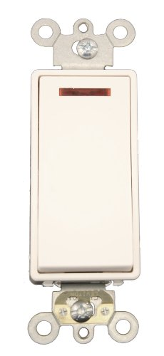 Leviton 5628-2W 20 Amp, 120 Volt, Decora Plus Rocker Pilot Light, Illuminated On, Req. Neutral Single-Pole AC Quiet Switch, Commercial Grade, Self Grounding, White by Leviton -