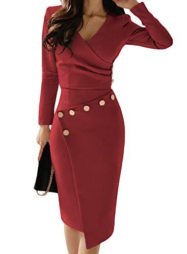 best website 88b1d 92888 Aleumdr Abito Donna con Scollo V Profondo Vestiti Donna Invernali Pulsante  Arricciato Abito da Cerimonia Elegante Solido Colore