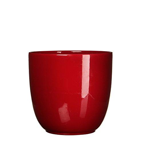 MICA Decorations 144809 Pot pour intérieur, Céramique, Rouge foncé, 25 x 25 x 23 cm