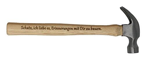 """Geschenk für Schatz : Gravierter Holzhammer :"""" Schatz, ich liebe es, Erinnerungen mit Dir zu bauen"""" -"""" Du bist der Hammer"""" – Besonderes Geburtstagsgeschenk für Schatz"""