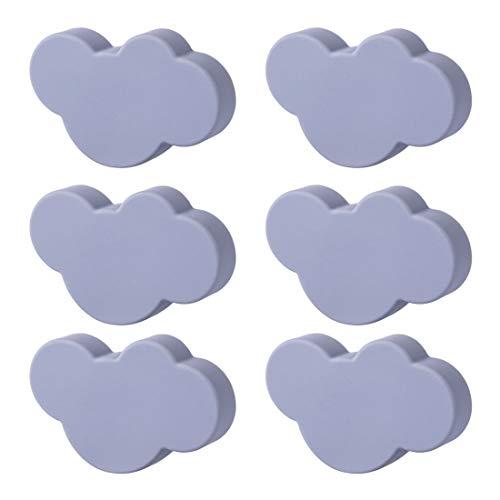 Seciie Möbelknopf Kinderzimmer, 6er Set Möbelknöpfe Schubladengriffe Möbelgriff für Schränke, Schubladen - Dunkle Wolken -