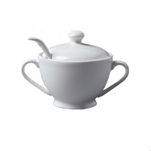 CKS Sugar Bowl et Spoon - Céramique blanc (pack de 2)