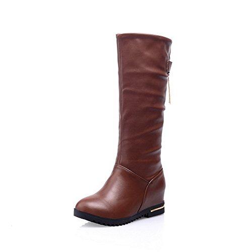 AgooLar Damen Hoher Absatz Weiches Material Mitte-Spitze Eingelegt Ziehen auf Stiefel, Braun, 34