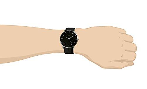 Davis 0910 - Herren Damen Design Uhr Gehäuse Extraflach Ziffernblatt Schwarz Lederarmband Schwarz