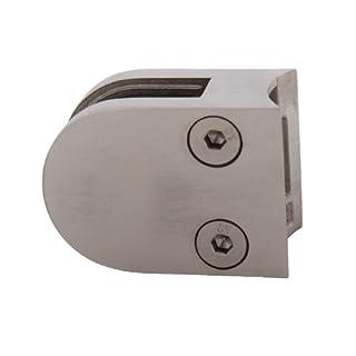Edelstahl Glashalter Glasklemme halbrund 50/40 mm für Rohr 42,4 mm - geeignet für Glasstärke 8,00 mm (S071108-8)