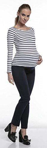 Happy Mama. Damen Umstandsmoden-Business-Hose mit Bund Schwangerschaft. 206p Marine
