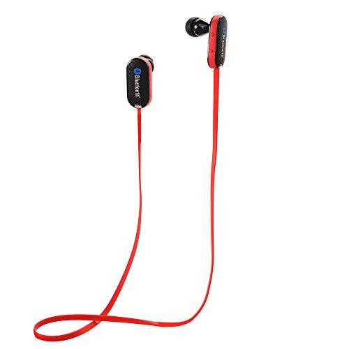 Aita BT36 Auriculares Eestéreo Bluetooth 4.0 para iPhone 7 7+ 6 6+ 6s 5 5s 5c iPad iPod shuffle, nano, classic, touch, etc. (Rojo)