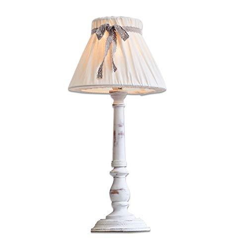 Loberon Tischlampe Valentin, Kiefernholz, MDF, Leinen, H/Ø 39/20 cm, weiß, E14, max. 40 Watt, A++ bis E