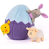 ZippyPaws - Holiday Burrow, Interactive Squeaky Hide and Seek Plush Dog Toy - Easter Egg and Friends