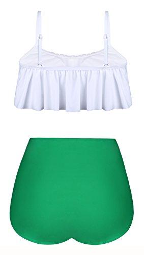 Angerella Damen Niedlich Ruffles Strap Badeanzug Crop Top Flounce Bikini (EU46-48=Tag Size 5XL, Weiß) -