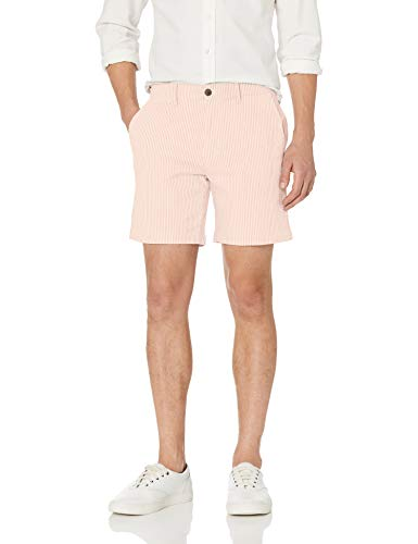 Goodthreads 7 Inch Stretch Seersucker shorts, Light Pink/White Stripe, W34'' - Herren-seersucker-shorts