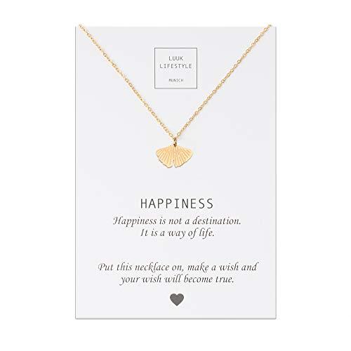 LUUK LIFESTYLE Edelstahl Halskette mit Gingkoblatt Anhänger und Happiness Spruchkarte, Glücksbringer, Damen Schmuck, gold