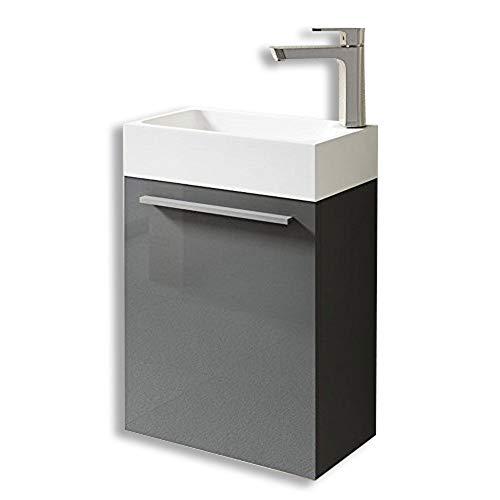 Meuble de salle de bains petite vasque avec meuble sous vasque pour WC séparé Pisa 46x26x63 gris brillant