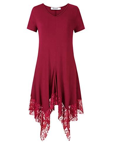 KOJOOIN Damen Plus Size Spitzen Kleider Asymmetrische Lässige Kleider Modal Oversize Casual Kleid -