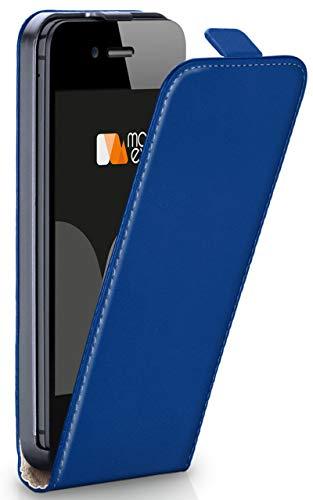 Magnetverschluss [Rundum-Schutz] passend für iPhone 5S / 5 / iPhone SE | 360° Handycover aus feinem Premium Kunst-Leder, Dunkel-Blau ()