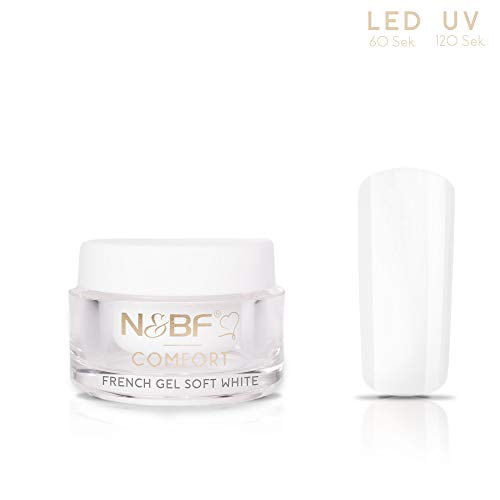 N&BF UV+LED French Gel Comfort Line Soft White | 5ml hochwertiges Profi Frenchgel Weiß dickviskos | Professionelles Nagelgel für French Manicure milchig | Made in Germany -