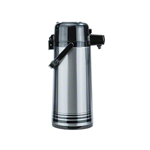Update International PSVL-25-BK-SF 2.5 Liter Airpot Stainless steel Lined with Button Top - Brushed Stainless