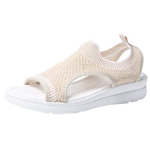Große Größe Mesh Sandalen für Frauen/Dorical Damen Mädchen Atmungsaktiv Komfort Aushöhlen, Lässige Sommer Wedges Tuch Schuhe Frau Keil Peep Toe Sandals 35-45 EU(Beige,44 EU)