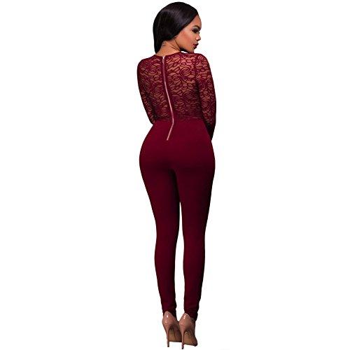 Europe et les États-Unis Nouvelles femmes à coudre col rond manches longues femmes un pantalon occasionnel date red