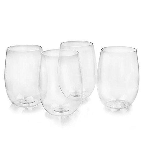 Eightnight 16oz/450ml TRITAN Réutilisable Unbreakable Durable Rouge Vin blanc Cocktails Shakes Jus de crème glacée Stemless verre pour la maison, les bureaux, les restaurants, les bars, les mariages Parties ensemble de 4