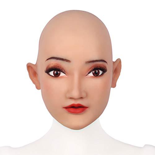 Besten Kostüm Queen Drag - Realistische Silikon Weibliche Maske Kopfdeckel Cosplay Latex Maskerade Für Crossdresser Transgender Halloween Kostüme Party Supplies -Kann Make-Up