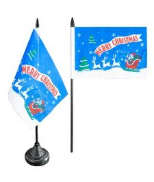 Digni® Drapeau de table Merry Christmas Père Noël bleu, mini drapeau - 10 x 15 cm