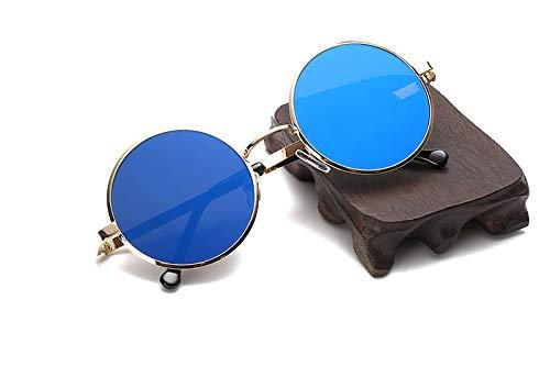 TYJMENG Sonnenbrillen Herren Sonnenbrillen Vintage Metall Männer Sonnenbrillen Frauen Runde Sonnenbrille Retro Eyewear Top Qualität Uv400, Gold W Blau Objektiv