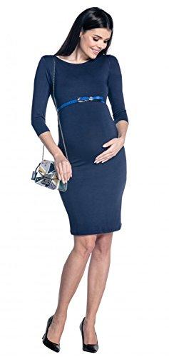 Zeta Ville - Robe grossesse manches 3/4 près du corps col bateau - femme - 064c Marine