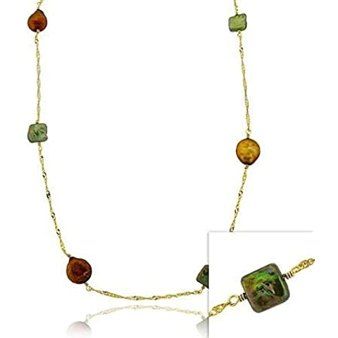 Oro, argento Sterling, colore: marrone, Verde &-Portamonete rotondo con perle D'acqua dolce coltivate, D-cut &-Collana a catenina lunga 76,20 (30 cm
