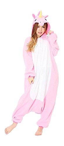 Minetom Flanell Karikatur Tier Pyjama Kostüm Für Halloween Karneval Fasching Unisex Erwachsene Schlafanzug Jumpsuit Anime Cosplay Einhorn Rosa M(160-170CM) (Drei Person Halloween Kostüme)
