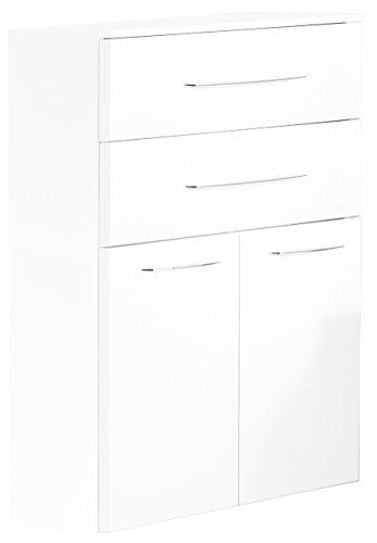 Fackelmann Doppel Midischrank VADEA / Schrank zum Aufhängen / Badmöbel / Maße (BxHxT): ca. 70,5 x 101 x 32 cm / Korpus Farbe Weiß Hochglanz / Front Farbe Weiß Hochglanz / Breite 70,5 cm / Schrank fürs Bad