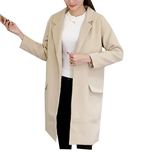 Aooword-women clothes Damen wolle blended outwear topcoat Komfort lose pea coat Medium Camel (Damen Wolle Pea Coat Camel)