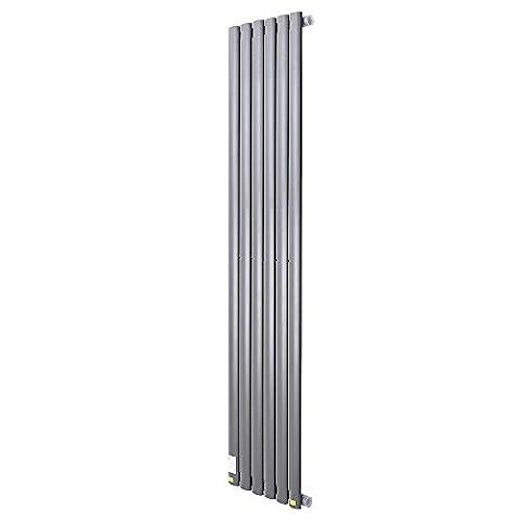 ReaseJoy Vertical Column Designer Radiator 1600x354mm 6 Grey Oval Single Flate Panel Heater Bathroom Central Heating