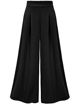 Guiran Mujer Pantalones Talle Alto Ancho Pierna Pantalones Palazzo Verano Elegante/Negro M