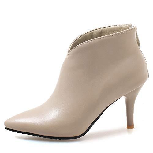 iefel Metallreißverschluss Knöchel Stiefel Elegante Kurze Plüsch dünnen Absätzen Stiefel Knöchel Highheels ()