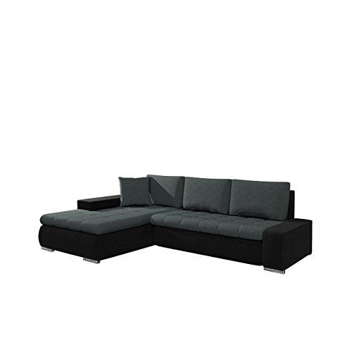 Elegante Sofa Orkan Mini SALE, Ausverkauf, Eckcouch mit Schlaffunktion und Bettfunktion, Ecksofa mit Bettkasten, Couch L-Sofa Große Farbauswahl, Beste Qualität (Hippo Black + Elite Charcoal)