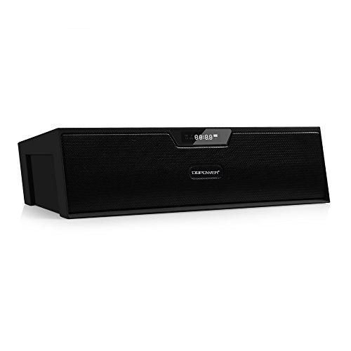 Bluetooth Stereo Lautsprecher, BX-100 LED Anzeige Tragbare Multifunktions Drahtlose Wecker Lautsprecher, Uhrenradio fuer Smartphone und Anderen Bluetooth Geraeten (Schwarz)