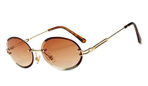 NauyGnol Kleine ovale Sonnenbrille für Damen, randlos, gelb, rot, Vintage, Farbverlauf UV400 Gr. Einheitsgröße, A3