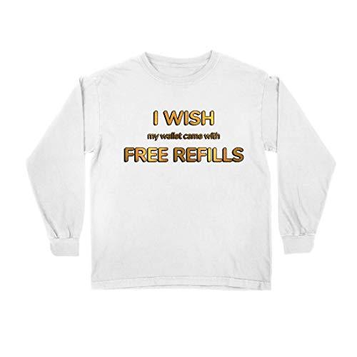 lepni.me Kinder-T-Shirt mit Langen Ärmeln Ich wünschte, Meine Brieftasche wäre mit kostenlosen Nachfüllungen ausgestattet. (9-11 Years Weiß Mehrfarben)