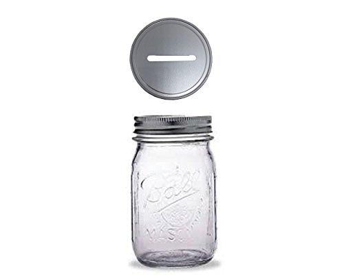 1Mason Jar con tapa de 1pieza ranurada Insertar Regular Mouth pinta 16oz Hucha para todas las edades (transparente)