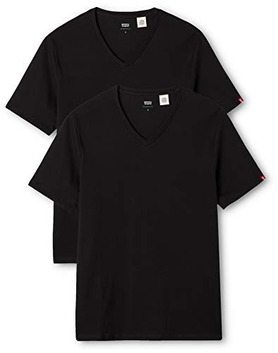 Levi's slim 2 pack v neck, t-shirt uomo, nero (black 59), xxl
