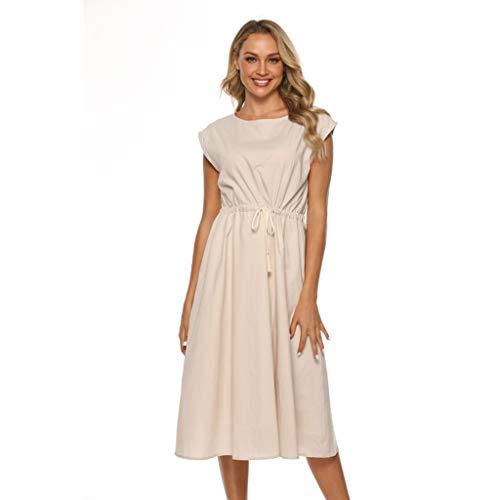 Damen Sommerkleid einfarbig ärmellos Schnürung Kleid hohe Taille elastisches Seil oansatz sexy Mode einfache knielangen Kleid Sonojie (Einfach Hollywood Star Kostüm)